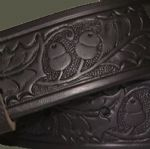 Acorns Embossed Italian Leather Black Belt 1.5 inches wide with buckle